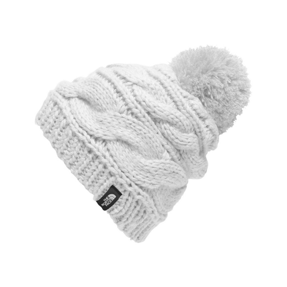12b537756 The North Face Women White Triple Cable Pom Beanie